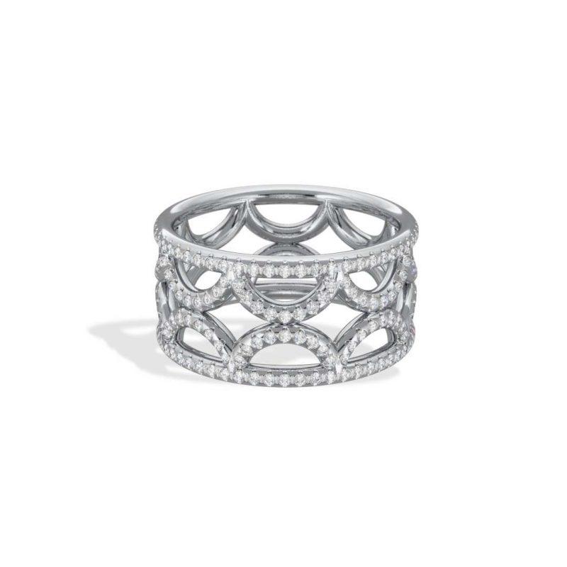 Bague Bandeau or blanc diamant synthèse pavé Perpétuel.le Loyal.e Paris 2