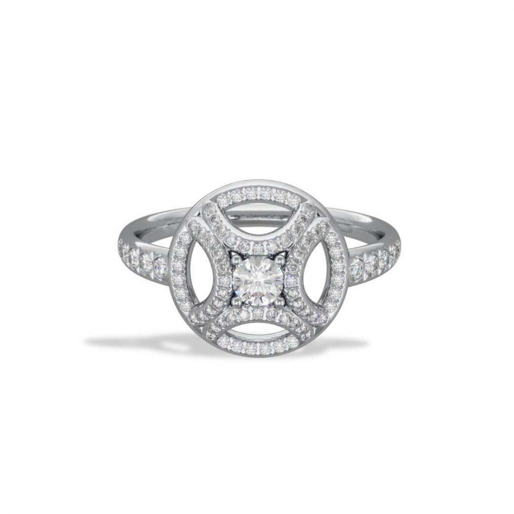 Ring white gold lab grown diamond 0.25 pavé Perpétuel.le Loyal.e Paris 1