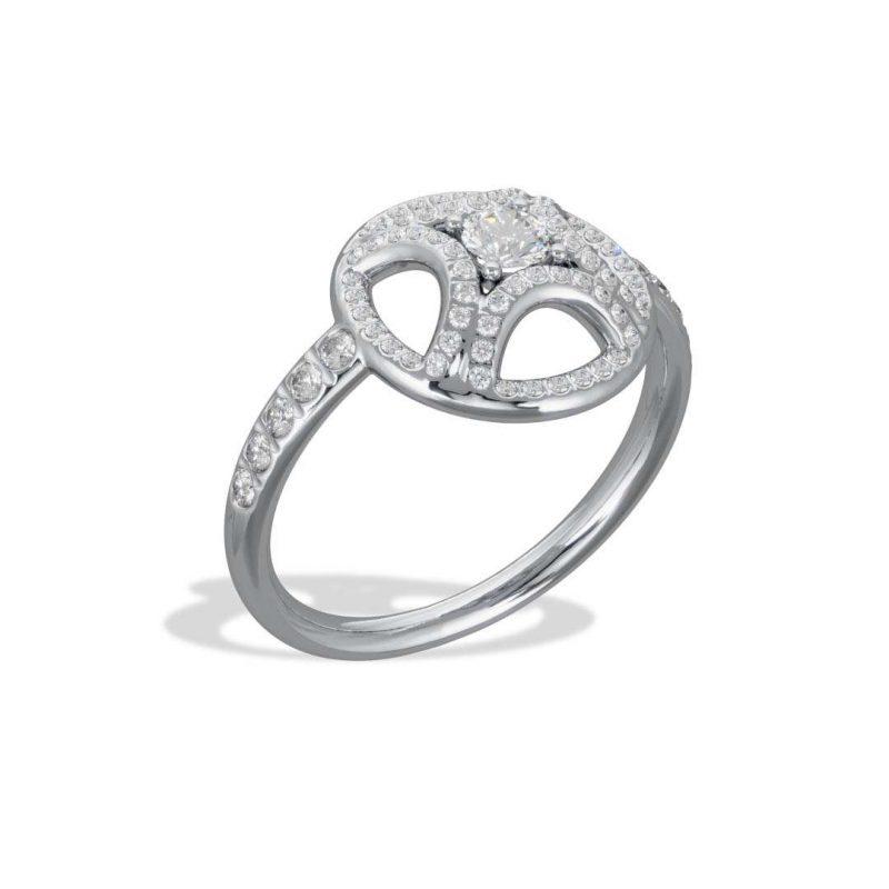 Ring white gold lab grown diamond 0.25 pavé Perpétuel.le Loyal.e Paris 2