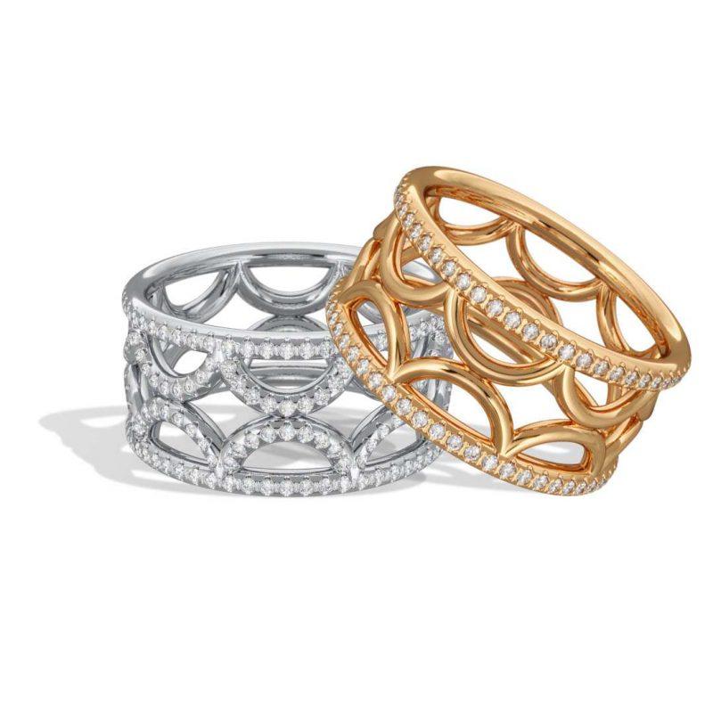 Bagues stacking or blanc diamant synthèse pavé or jaune semi pavé Perpétuel.le Loyal.e Paris 1