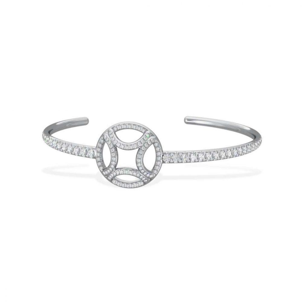 Bracelet Bangle or blanc diamant synthèse pavé Perpétuel.le Loyal.e Paris 1