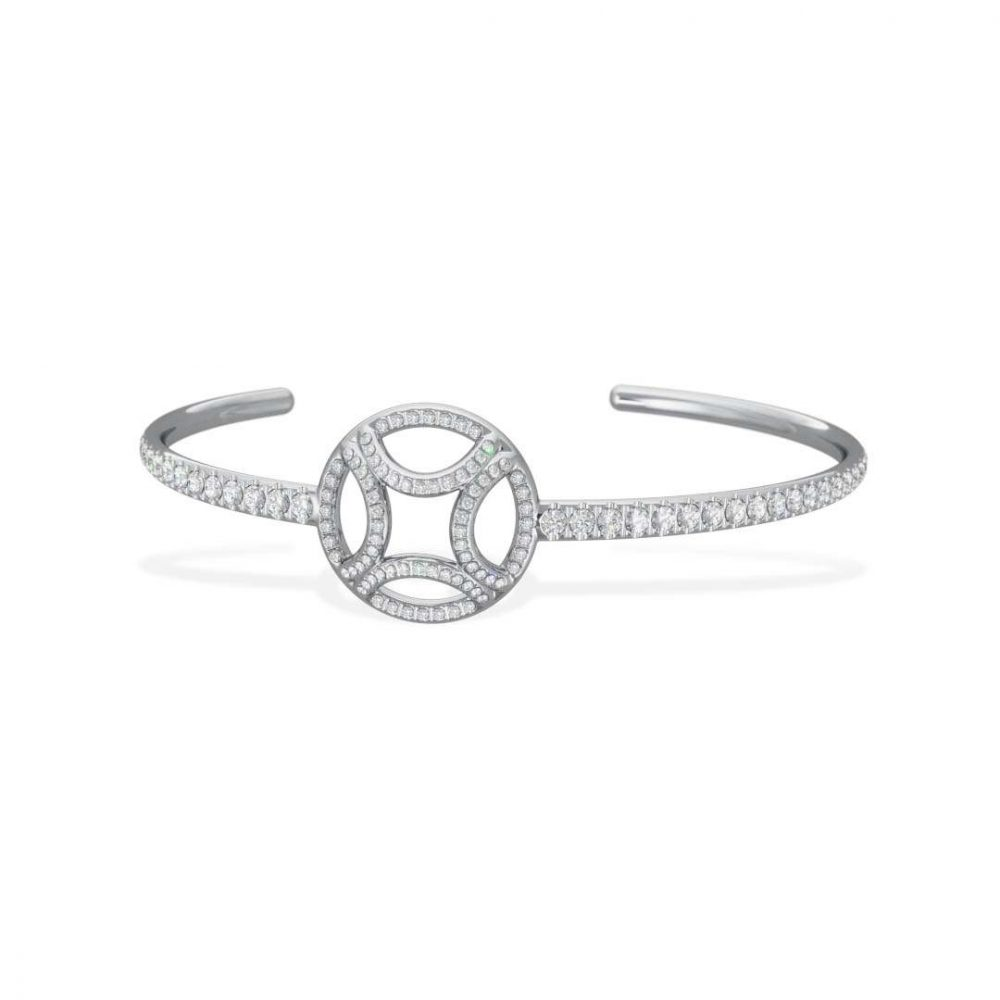 Bracelet Bangle white gold lab grown diamond pavé Perpétuel.le Loyal.e Paris 1