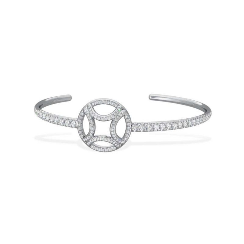 Bracelet Bangle or blanc diamant synthèse pavé Perpétuel.le Loyal.e Paris 1
