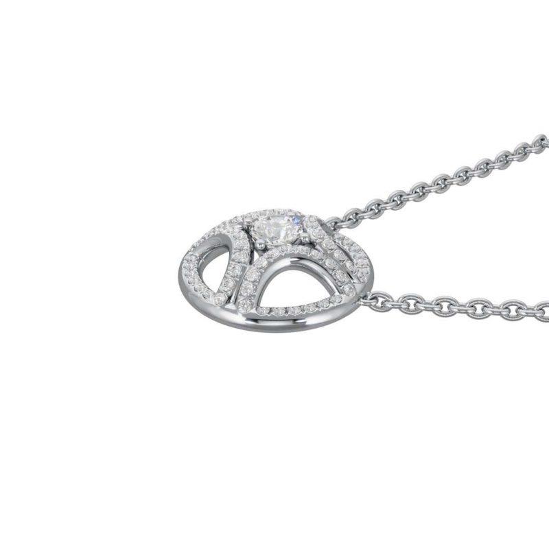 Necklace pendant white gold lab grown diamond 0.25 pavé Perpétuel.le Loyal.e Paris 2