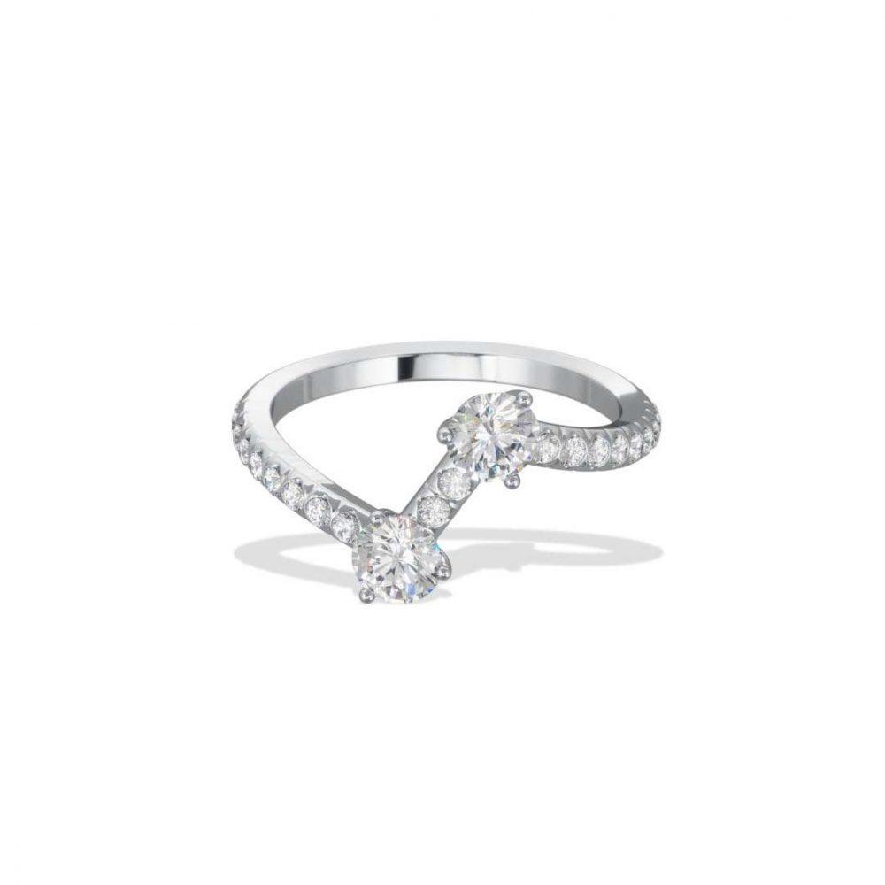 Ring white gold lab grown diamond 0.25 0.25 pavé Toi+Moi Loyal.e Paris 1