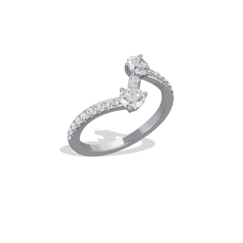 Ring white gold lab grown diamond 0.25 0.25 pavé Toi+Moi Loyal.e Paris 2