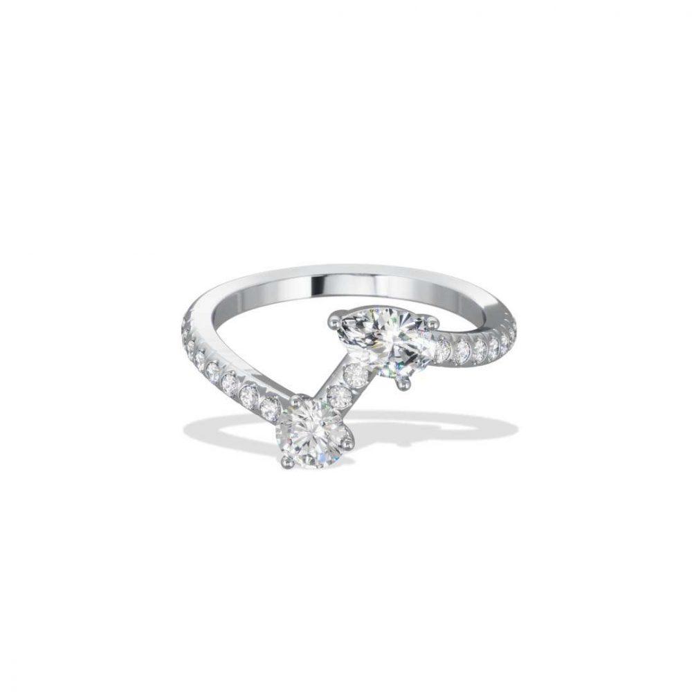 Ring white gold lab grown diamond 0.25 0.35 pavé Toi+Moi Loyal.e Paris 1
