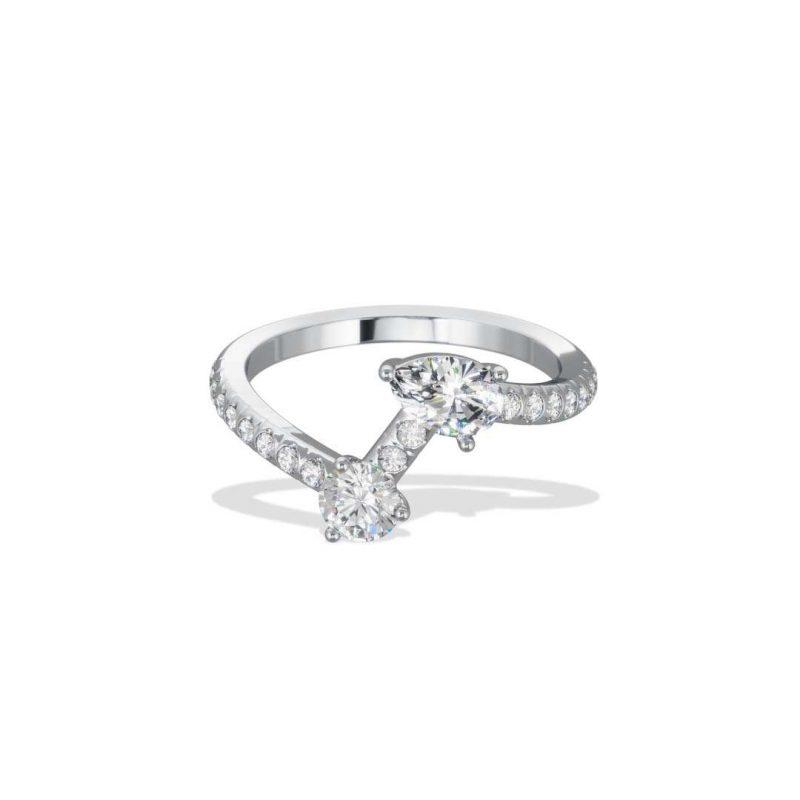 Bague or blanc diamant synthèse 0.25 0.35 pavé Toi+Moi Loyal.e Paris 1