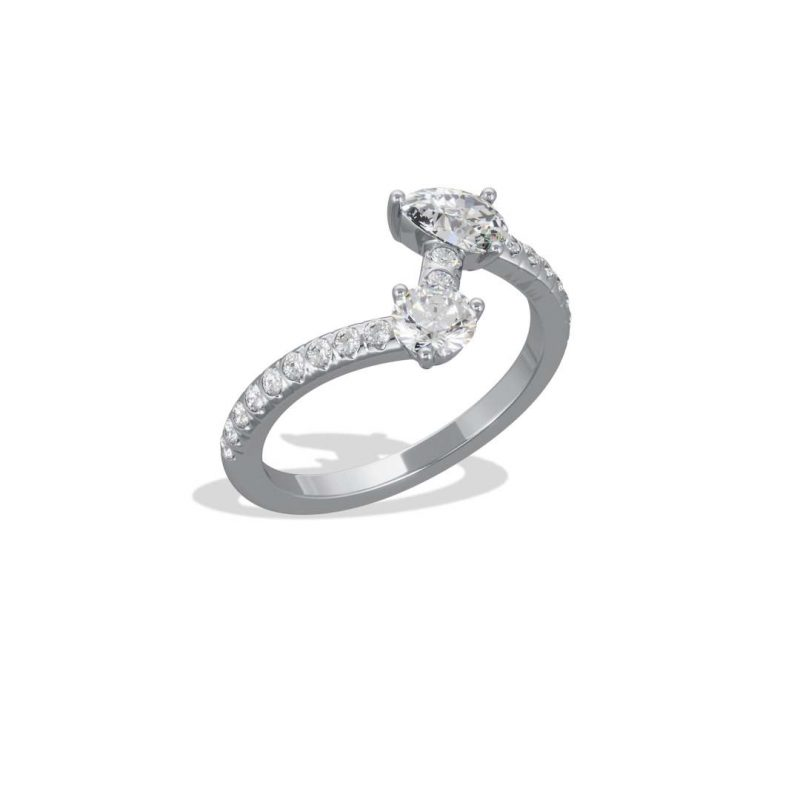 Bague or blanc diamant synthèse 0.25 0.35 pavé Toi+Moi Loyal.e Paris 2