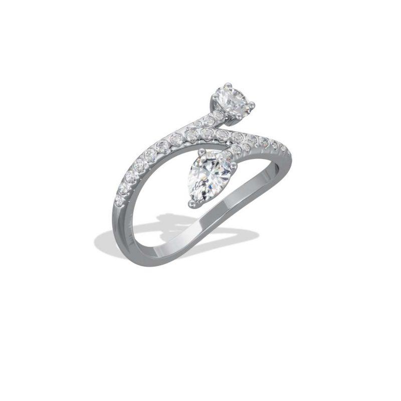 Bague or blanc diamant synthèse 0.25 0.35 pavé Toi+Moi Toujours Loyal.e Paris 2