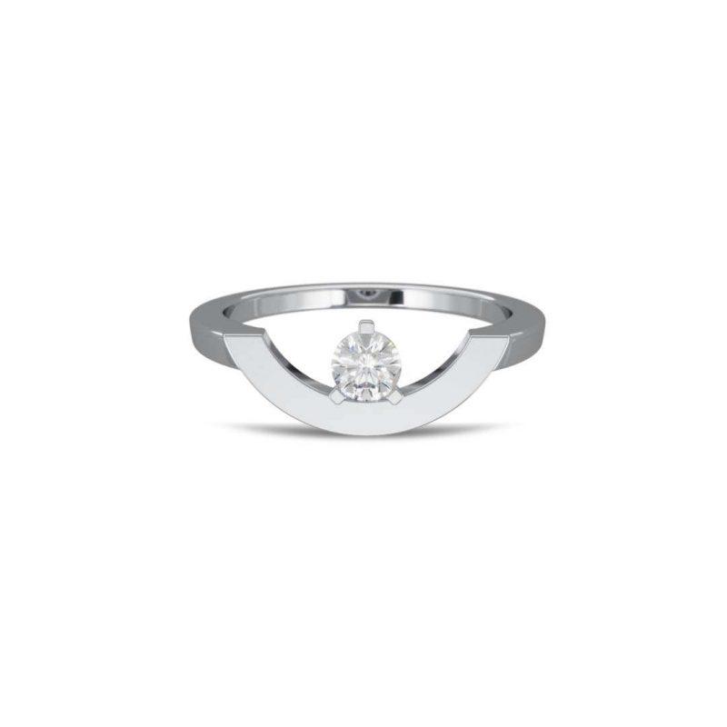 Bague or blanc diamant synthèse 0.25 grand arc Intrépide Loyal.e Paris 1