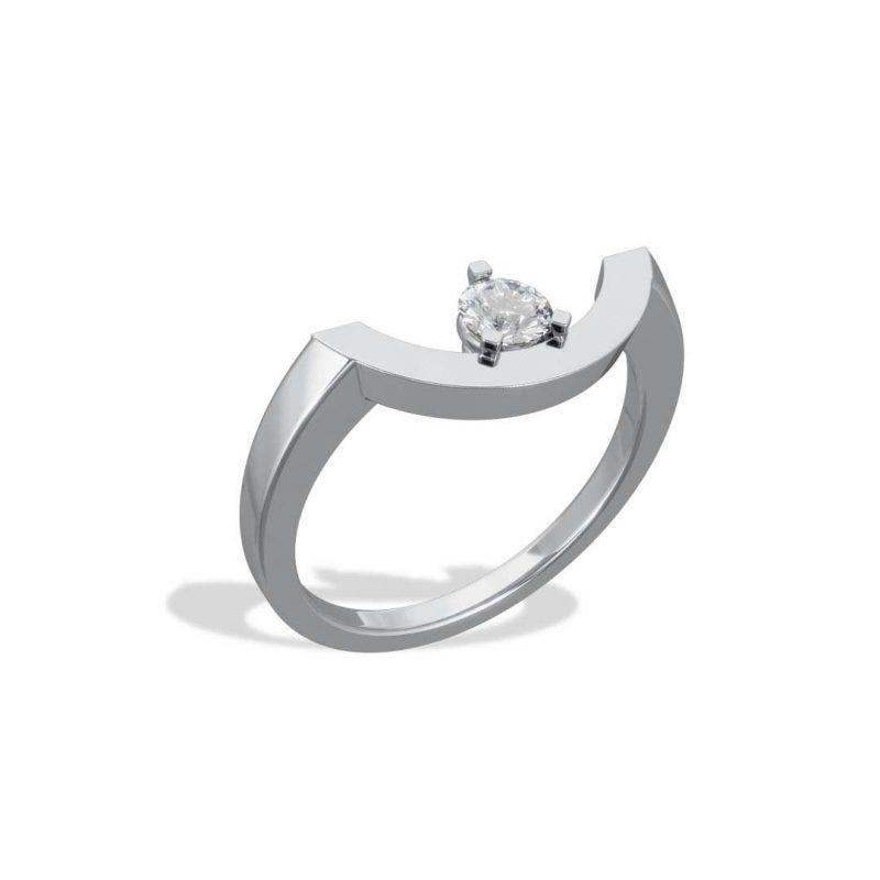 Bague or blanc diamant synthèse 0.25 grand arc Intrépide Loyal.e Paris 2