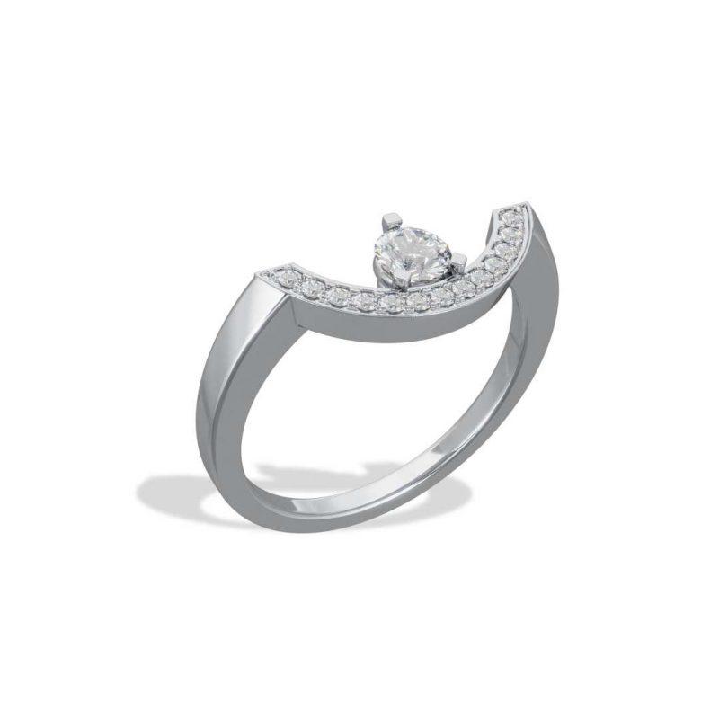 Bague or blanc diamant synthèse 0.25 pavé grand arc Intrépide Loyal.e Paris 2