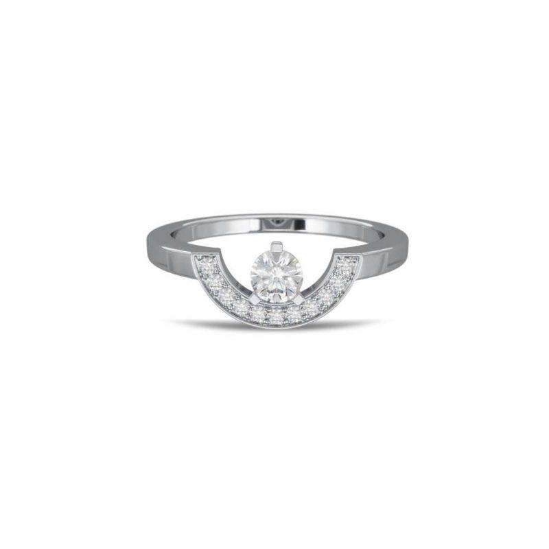 Ring white gold lab grown diamond 0.25 pavé petit arc Intrépide Loyal.e Paris 1