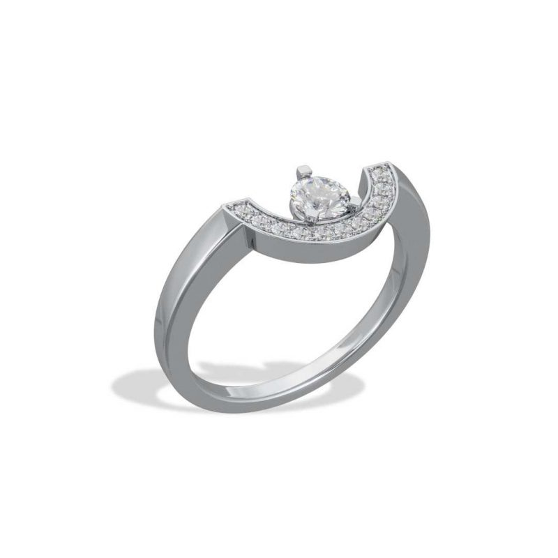 Ring white gold lab grown diamond 0.25 pavé petit arc Intrépide Loyal.e Paris 2
