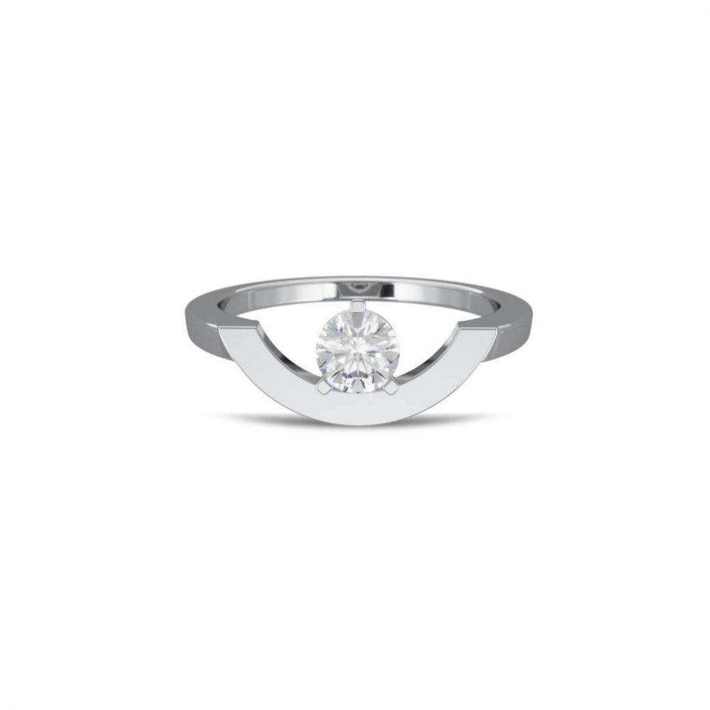 Bague or blanc diamant synthèse 0.5 grand arc Intrépide Loyal.e Paris 1