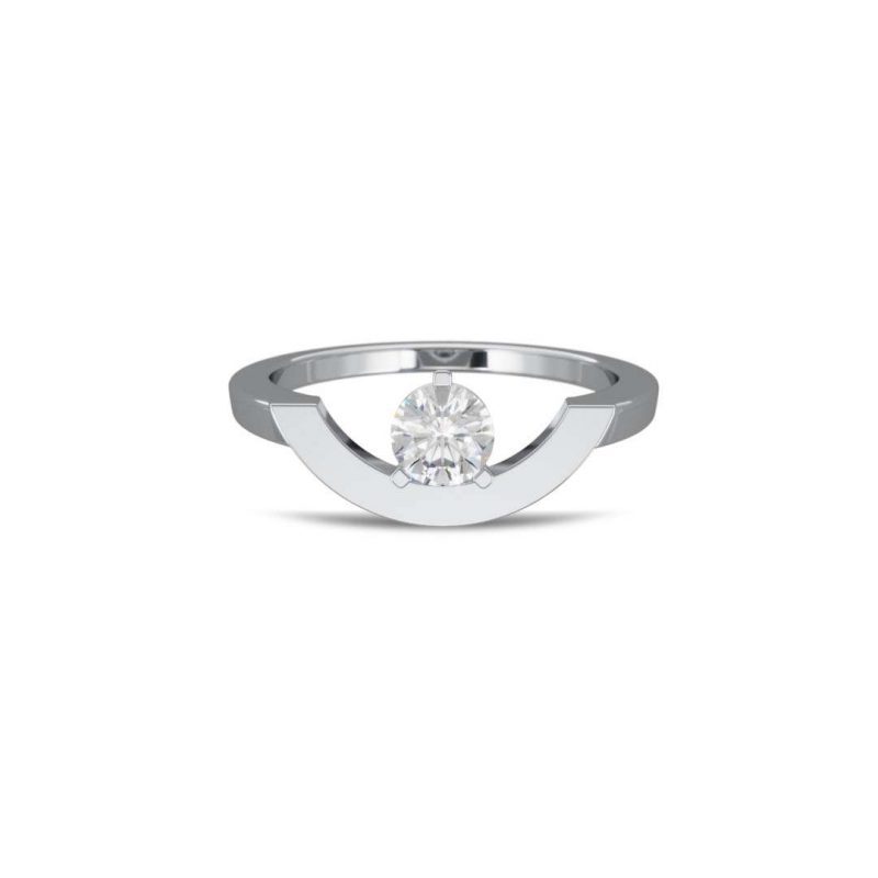 Bague or blanc diamant synthèse 0.5 grand arc Intrépide Loyal.e Paris 1