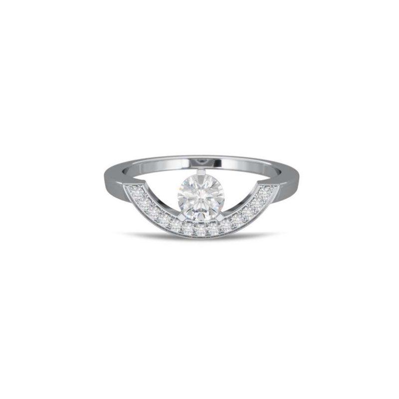 Bague or blanc diamant synthèse 0.5 pavé grand arc Intrépide Loyal.e Paris 1
