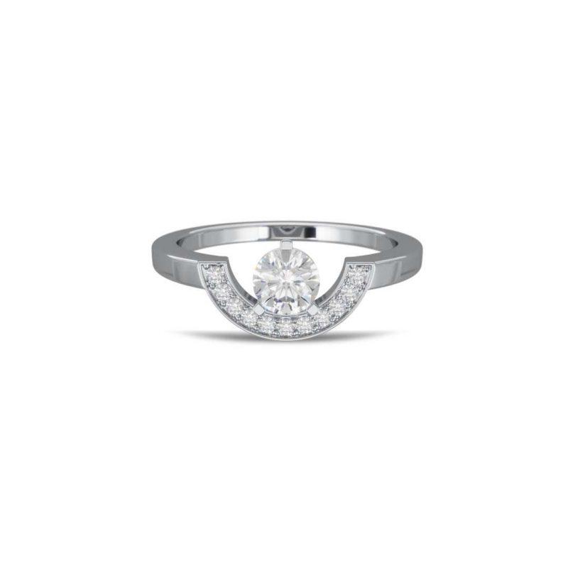 Ring white gold lab grown diamond 0.5 pavé petit arc Intrépide Loyal.e Paris 1