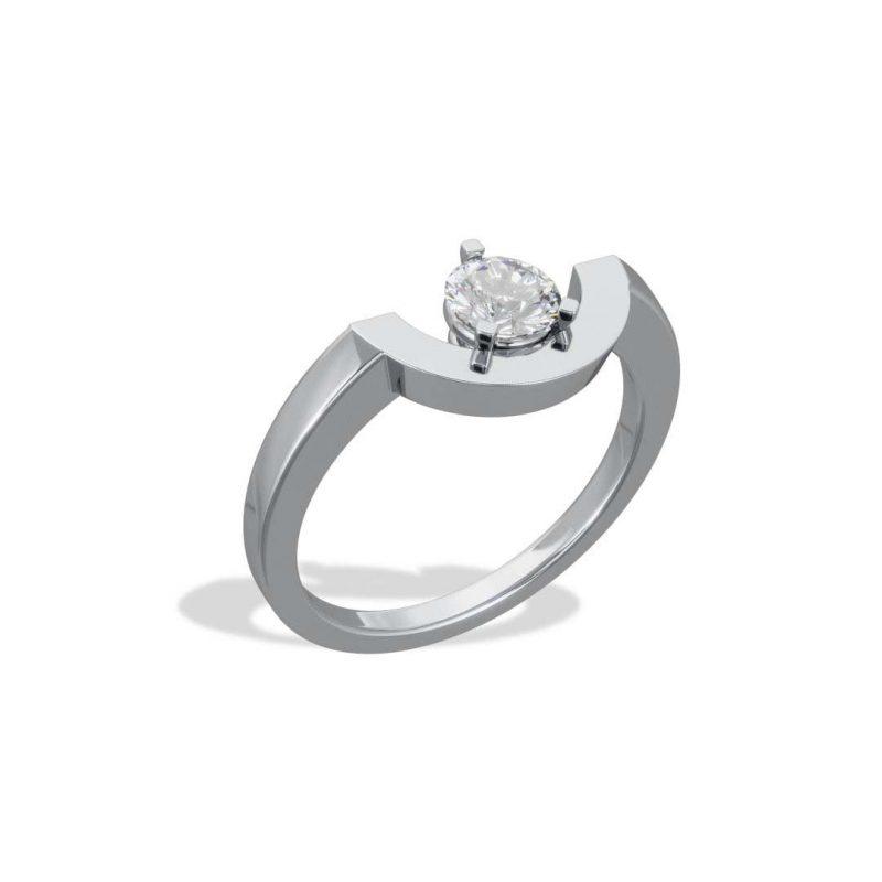 Ring white gold lab grown diamond 0.5 petit arc Intrépide Loyal.e Paris 2