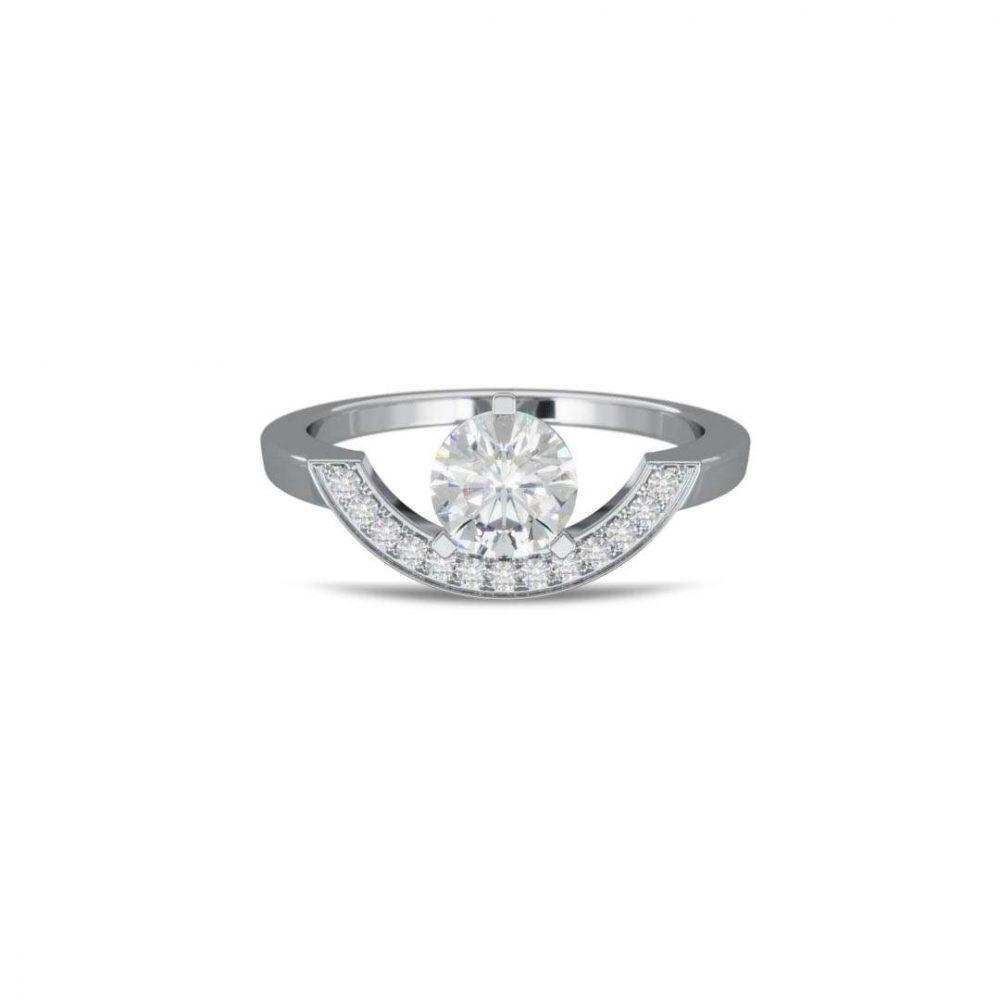 Bague or blanc diamant synthèse 1 pavé grand arc Intrépide Loyal.e Paris 1