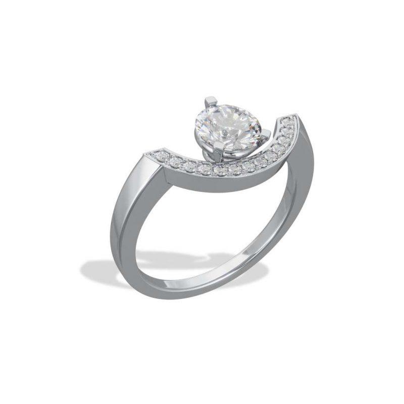 Bague or blanc diamant synthèse 1 pavé grand arc Intrépide Loyal.e Paris 2