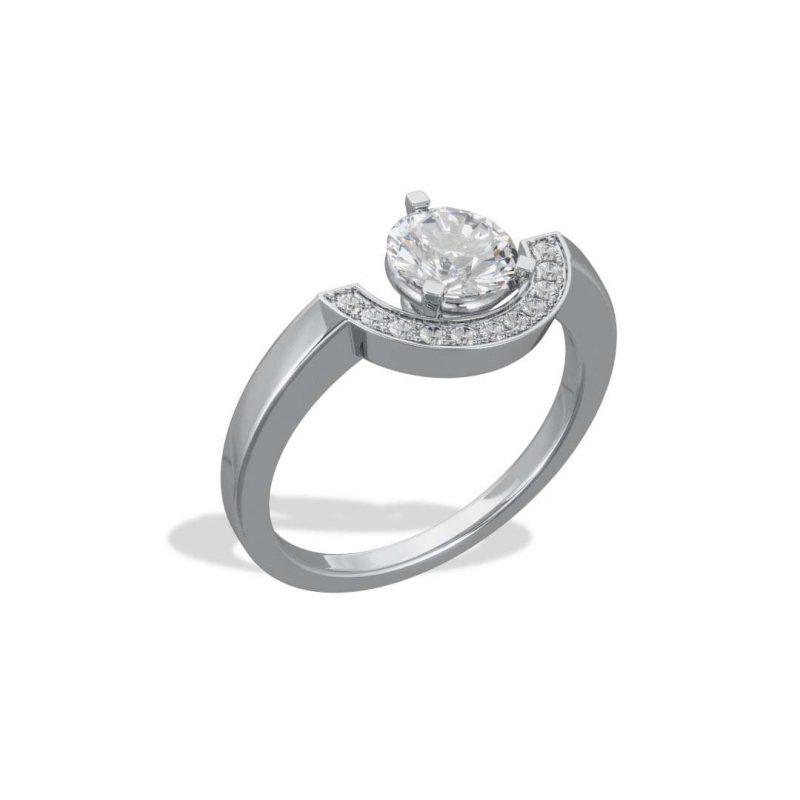 Bague or blanc diamant synthèse 1 pavé petit arc Intrépide Loyal.e Paris 2
