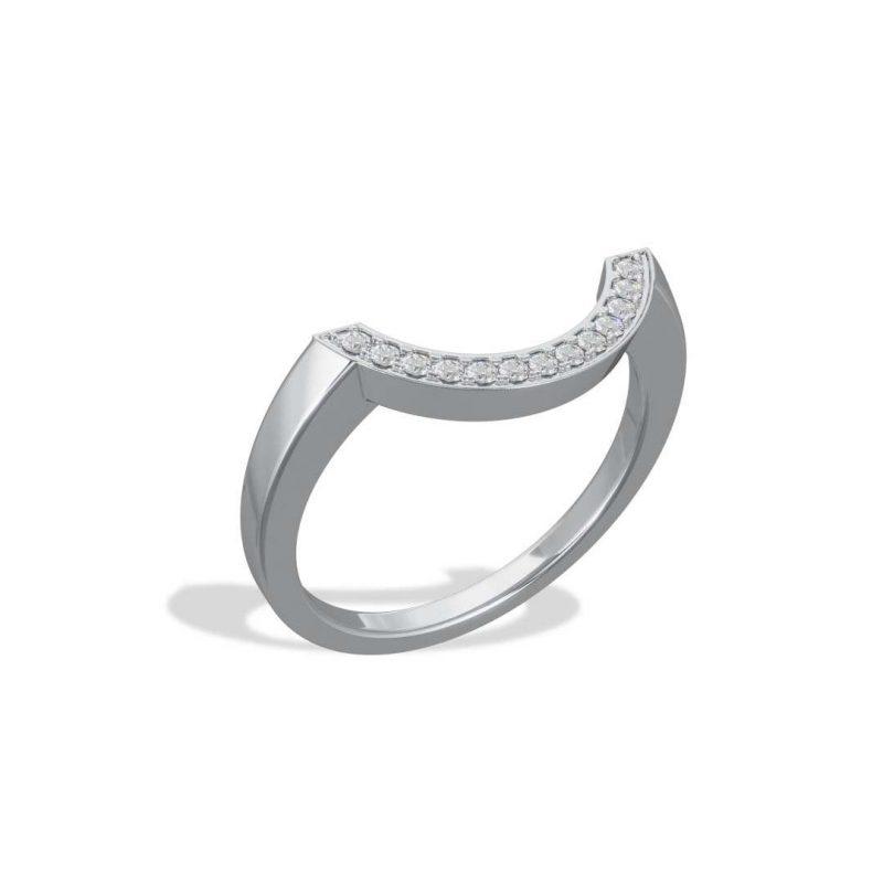 Bague or blanc diamant synthèse pavé grand arc Intrépide Loyal.e Paris 2