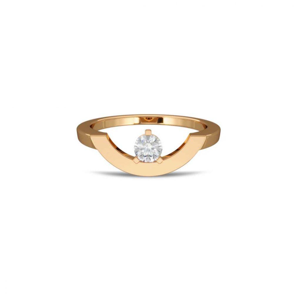 Ring yellow gold lab grown diamond 0.25 grand arc Intrépide Loyal.e Paris 1