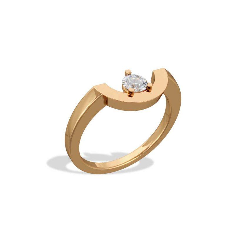 Bague or jaune diamant synthèse 0.25 petit arc Intrépide Loyal.e Paris 2