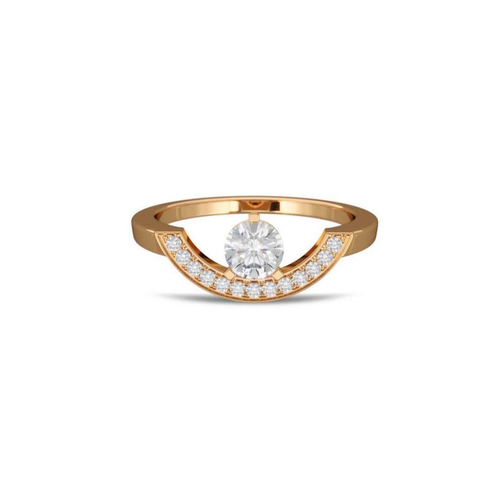 Bague or jaune diamant synthèse 0.5 pavé grand arc Intrépide Loyal.e Paris 1
