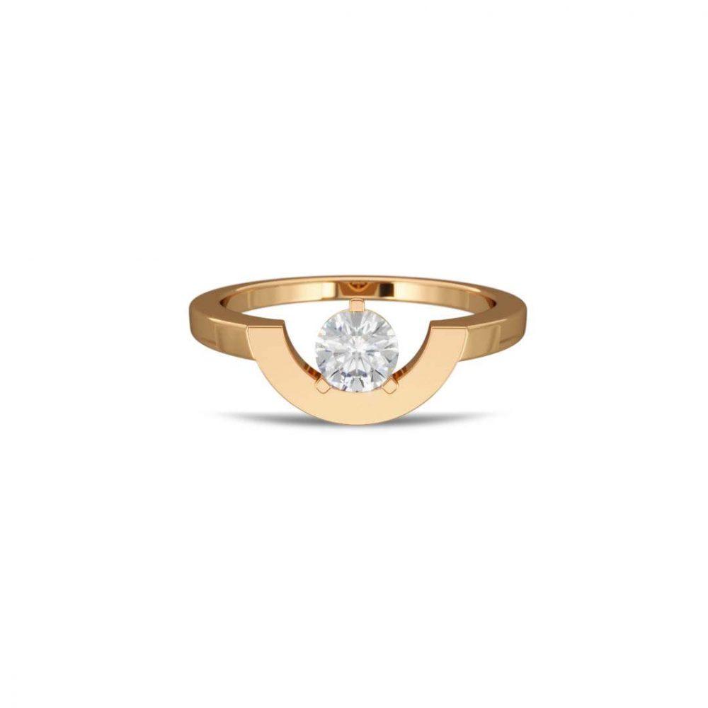 Ring yellow gold lab grown diamond 0.5 petit arc Intrépide Loyal.e Paris 1