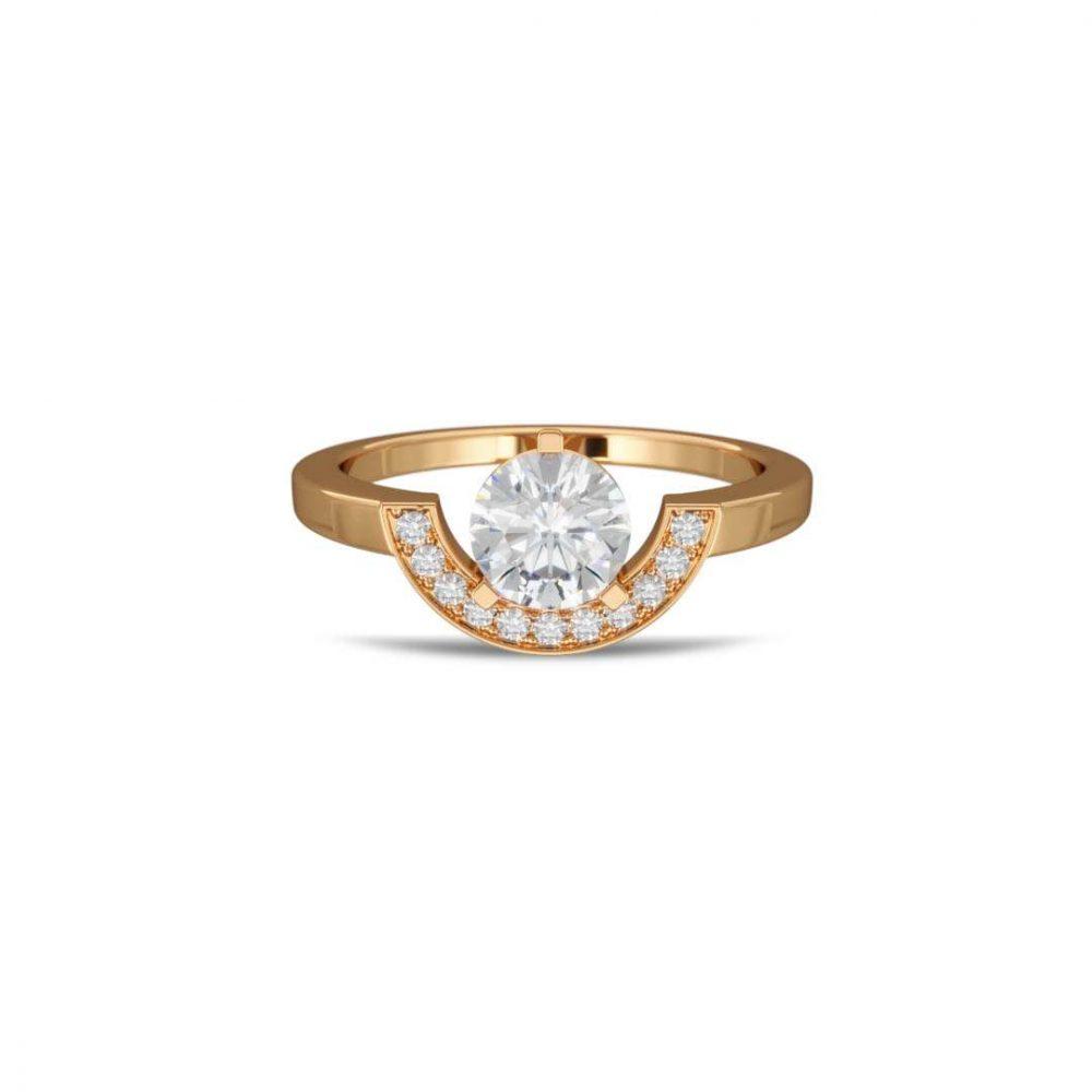 Ring yellow gold lab grown diamond 1 pavé petit arc Intrépide Loyal.e Paris 1