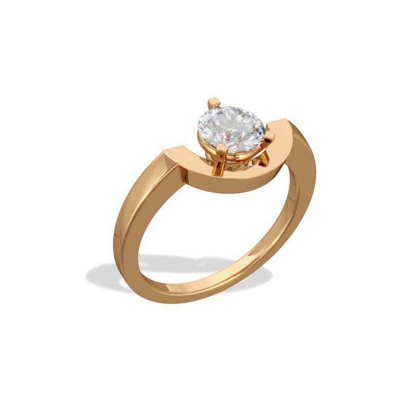 Ring yellow gold lab grown diamond 1 petit arc Intrépide Loyal.e Paris 2