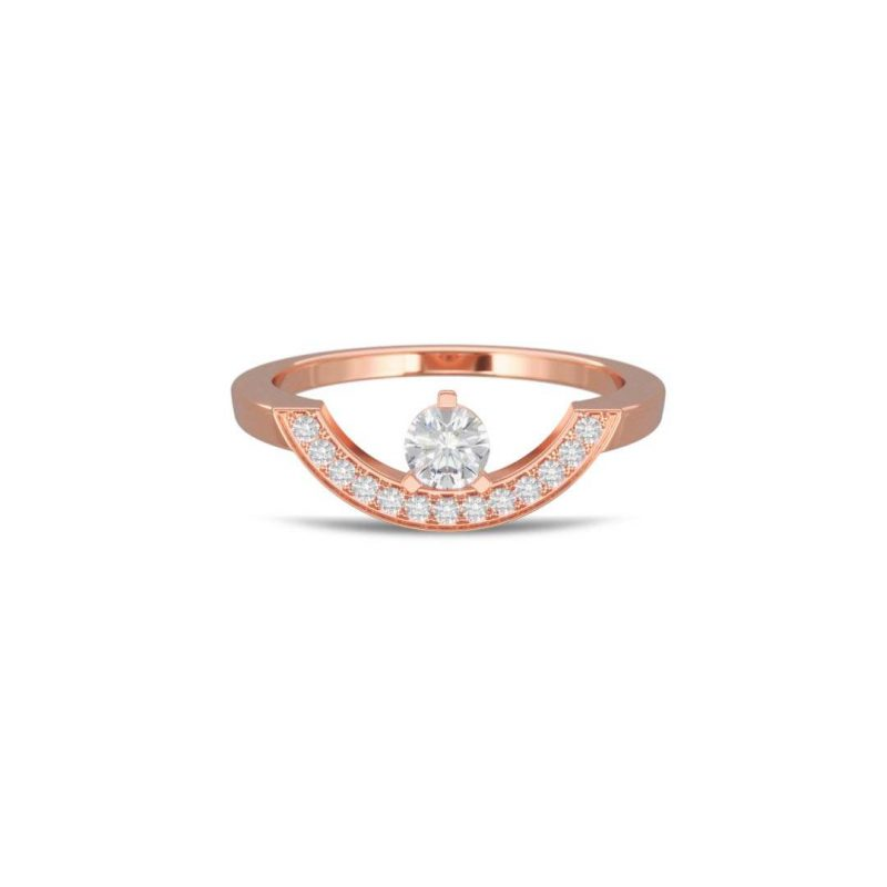 Bague or rose diamant synthèse 0.25 pavé grand arc Intrépide Loyal.e Paris 1