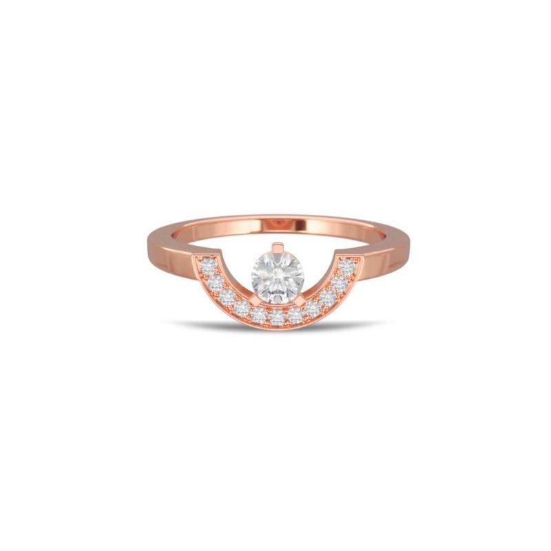 Ring rose gold lab grown diamond 0.25 pavé petit arc Intrépide Loyal.e Paris 1
