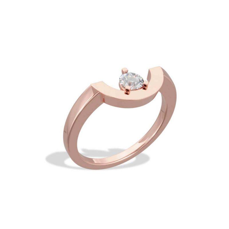 Ring rose gold lab grown diamond 0.25 petit arc Intrépide Loyal.e Paris 2