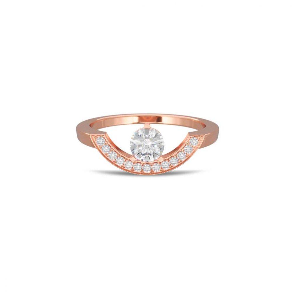 Bague or rose diamant synthèse 0.5 pavé grand arc Intrépide Loyal.e Paris 1