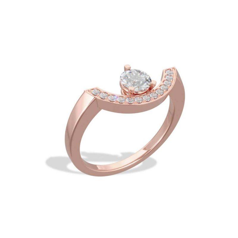 Bague or rose diamant synthèse 0.5 pavé grand arc Intrépide Loyal.e Paris 2
