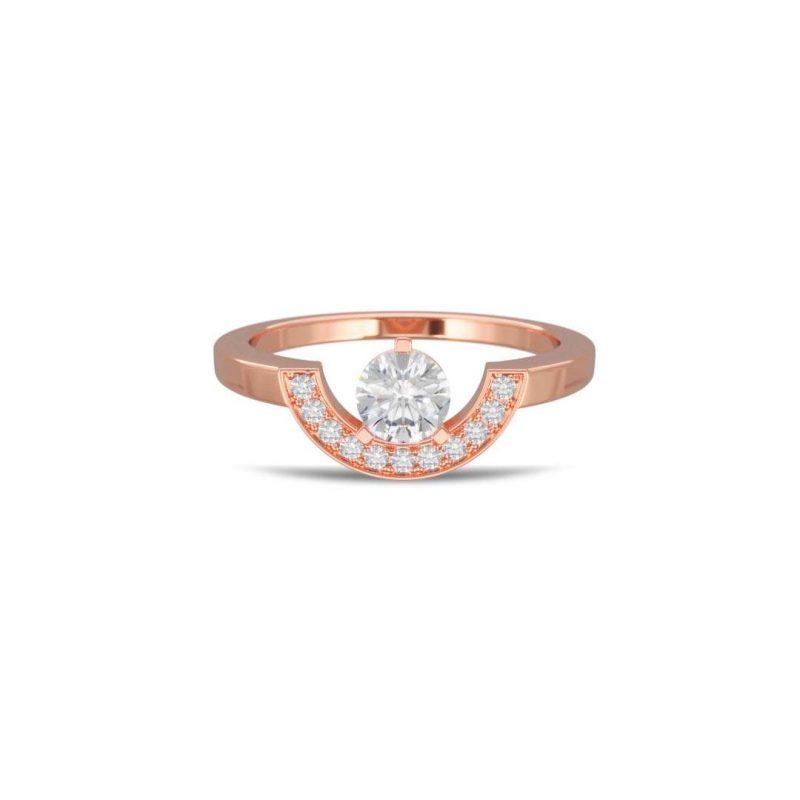 Bague or rose diamant synthèse 0.5 pavé petit arc Intrépide Loyal.e Paris 1