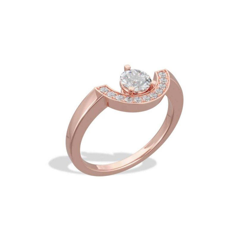 Bague or rose diamant synthèse 0.5 pavé petit arc Intrépide Loyal.e Paris 2