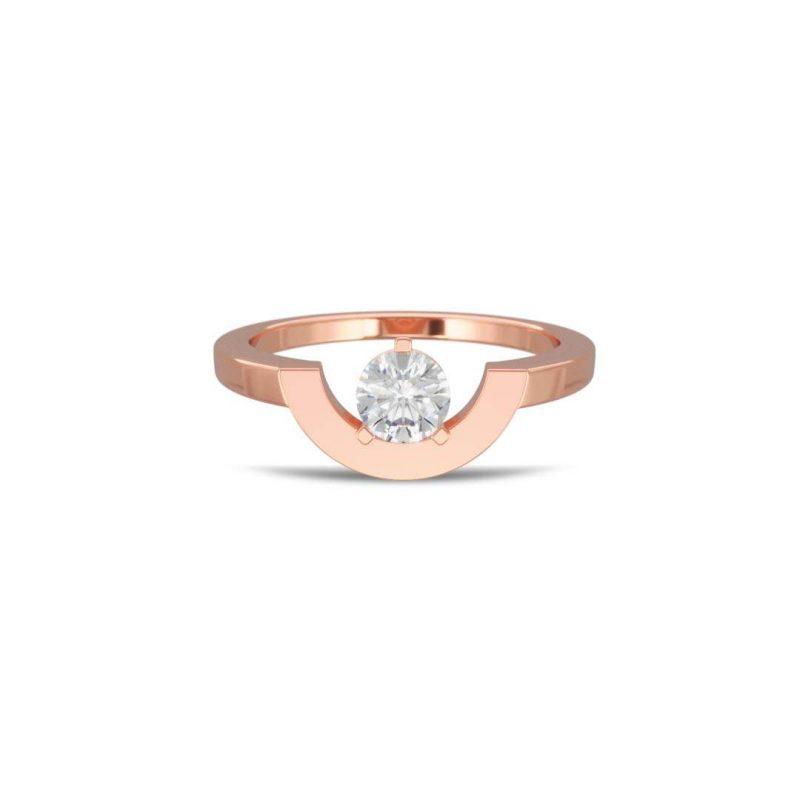 Bague or rose diamant synthèse 0.5 petit arc Intrépide Loyal.e Paris 1
