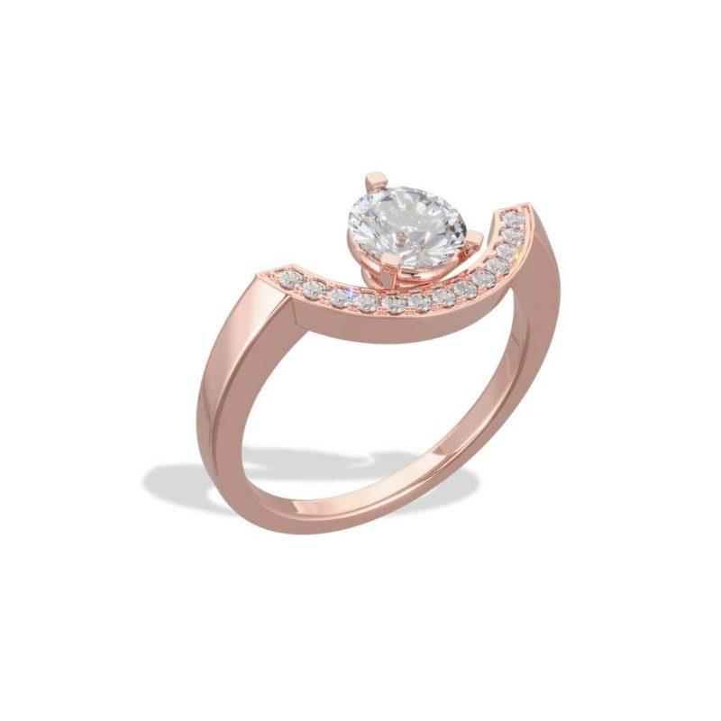 Bague or rose diamant synthèse 1 pavé grand arc Intrépide Loyal.e Paris 2
