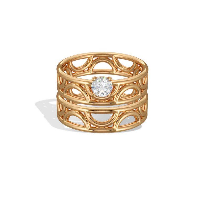 Rings stacking yellow gold lab grown diamond 0.25 Amour Perpétuel Loyal.e Paris 1