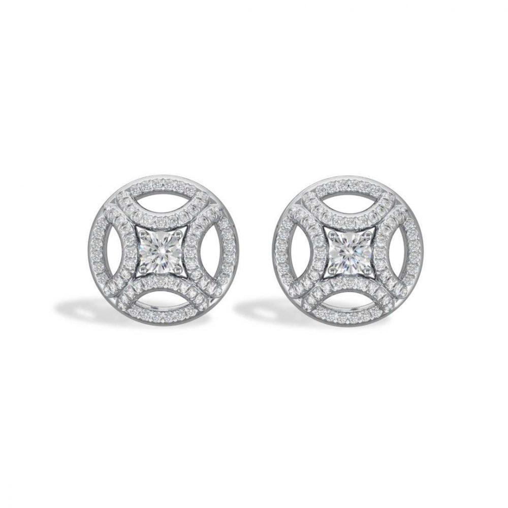 Earrings white gold lab grown diamond 0.25 pavé Perpétuel.le Loyal.e Paris 1