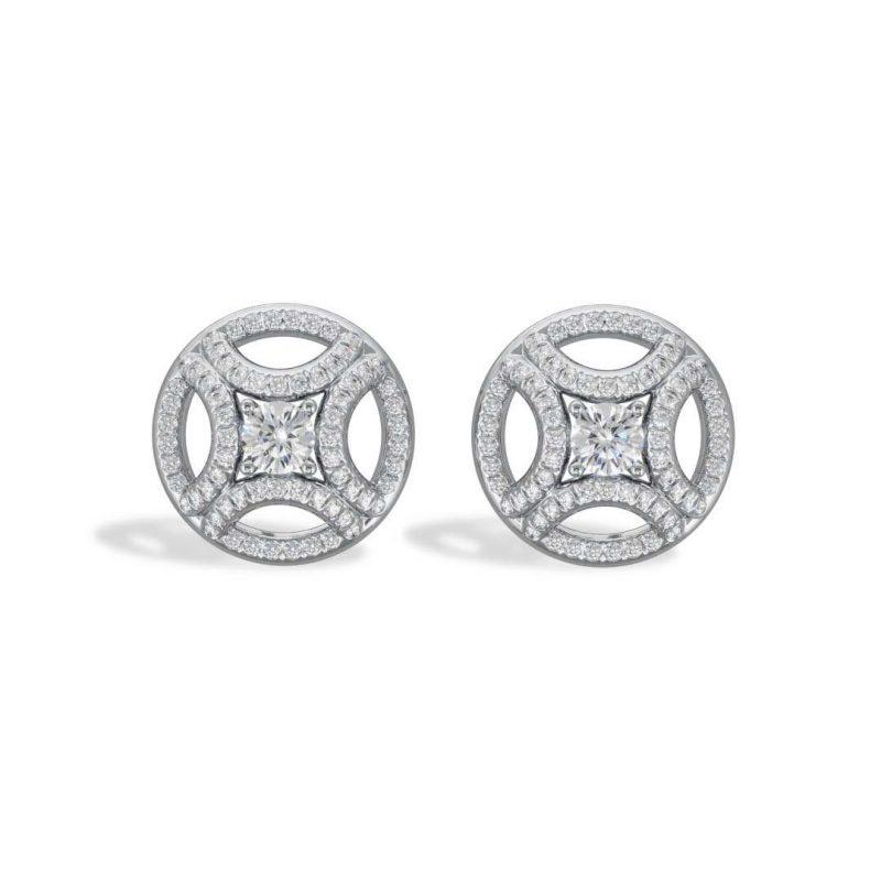 Boucles d'oreilles or blanc diamant synthèse 0.25 pavé Perpétuel.le Loyal.e Paris 1