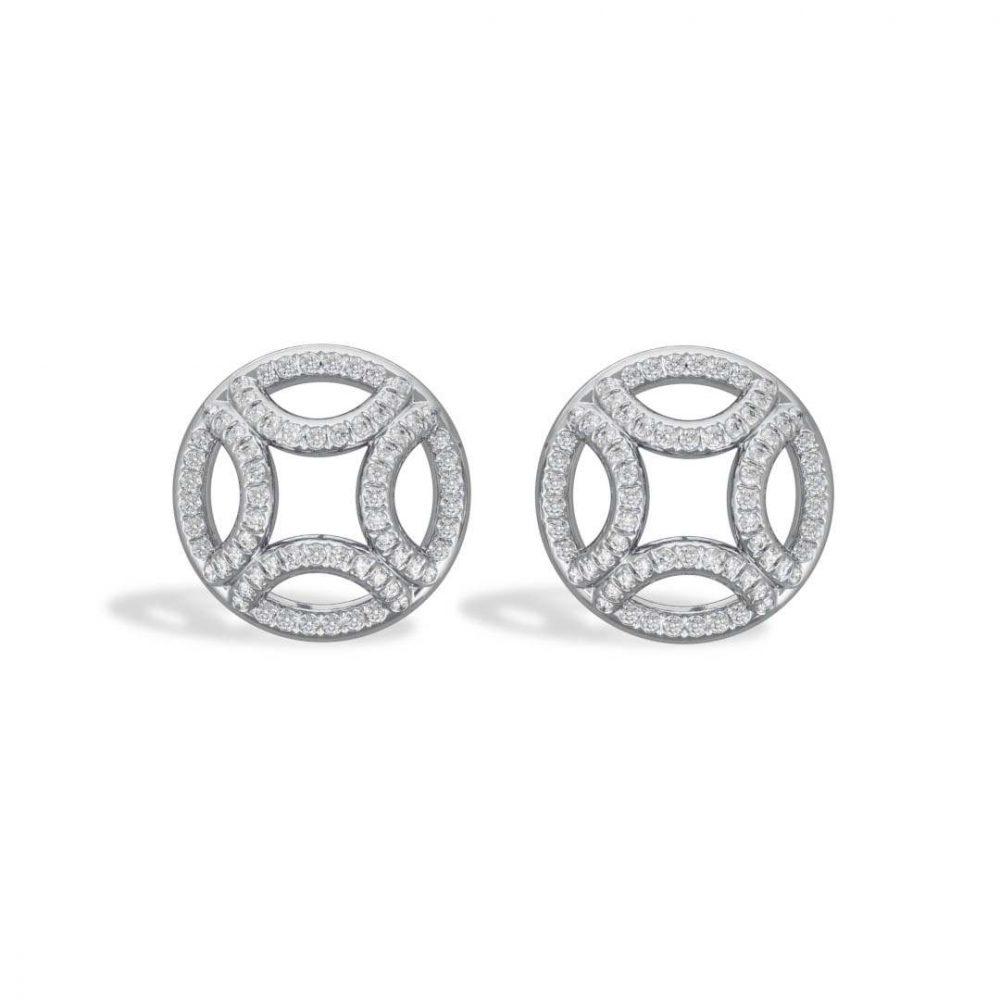 Boucles d'oreilles or blanc diamant synthèse pavé Perpétuel.le Loyal.e Paris 1