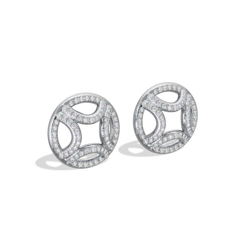 Boucles d'oreilles or blanc diamant synthèse pavé Perpétuel.le Loyal.e Paris 2