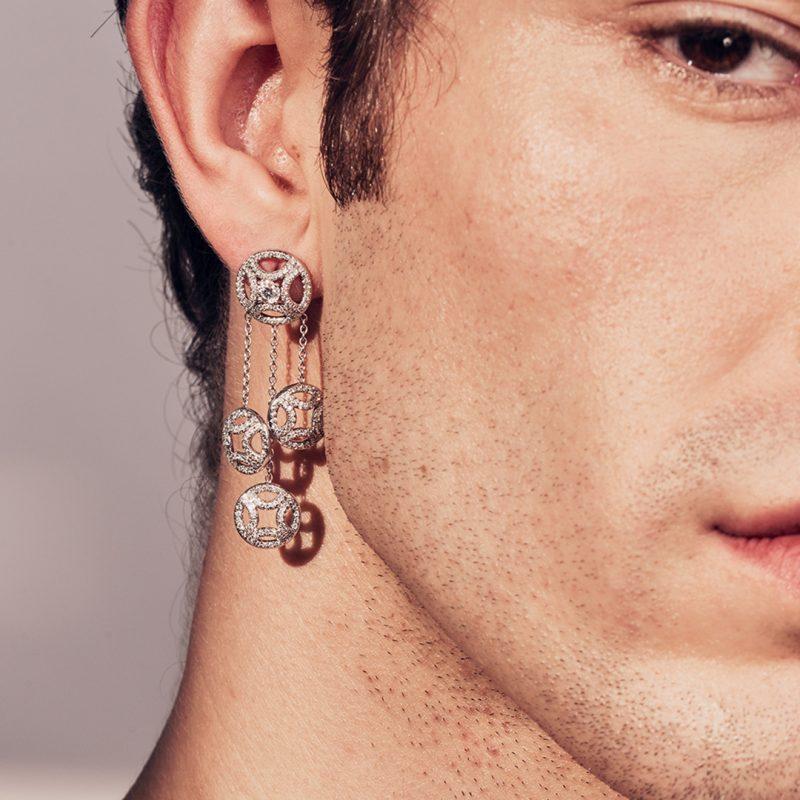 Boucles d'oreilles or recyclé diamant synthétique homme bijoux éthiques Loyal.e Paris 1