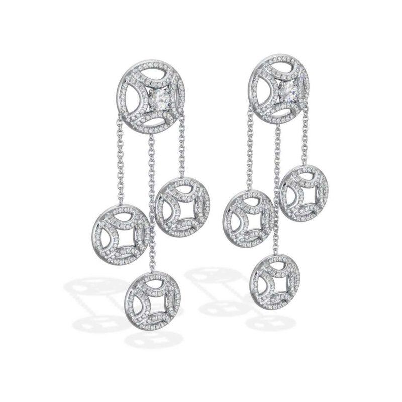 Boucles d'oreilles pendant or blanc diamant synthèse 0.25 pavé Perpétuel.le Loyal.e Paris 2